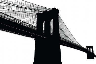 New York Brooklyn Bridge Black Silhouette Vector Illustration