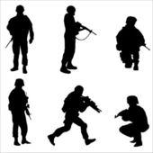 voják černé siluety vektorové ilustrace