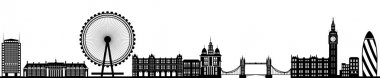 London Skyline Detailed Silhouette Black Vector Illustration