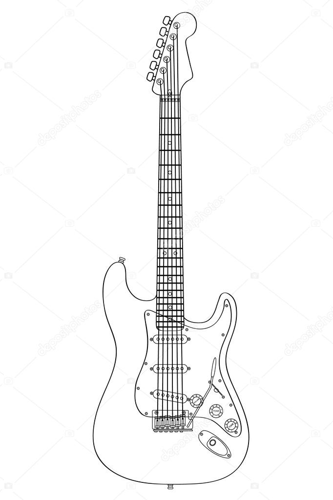 Technical Guitar Drawing Silhouette Vector Illustration Stock Vector C Vladmark 41885359