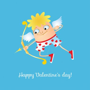 Vector funny greeting card with a cupid for valentine's day. The image avaliable in vector EPS format, it can be scaled to any size without loss of quality, it also can be easily edited or taken to pieces. clip art vector