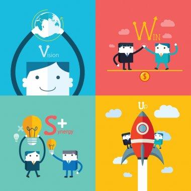 Set of flat vector business concept design