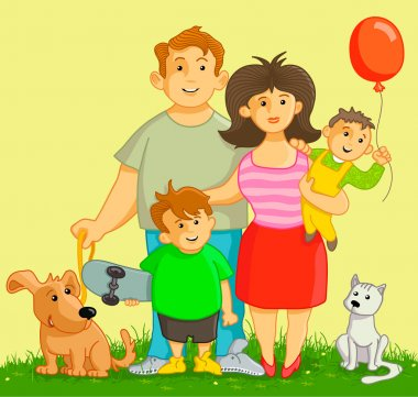 Vector illustration: Funny and happy family. Cartoon people