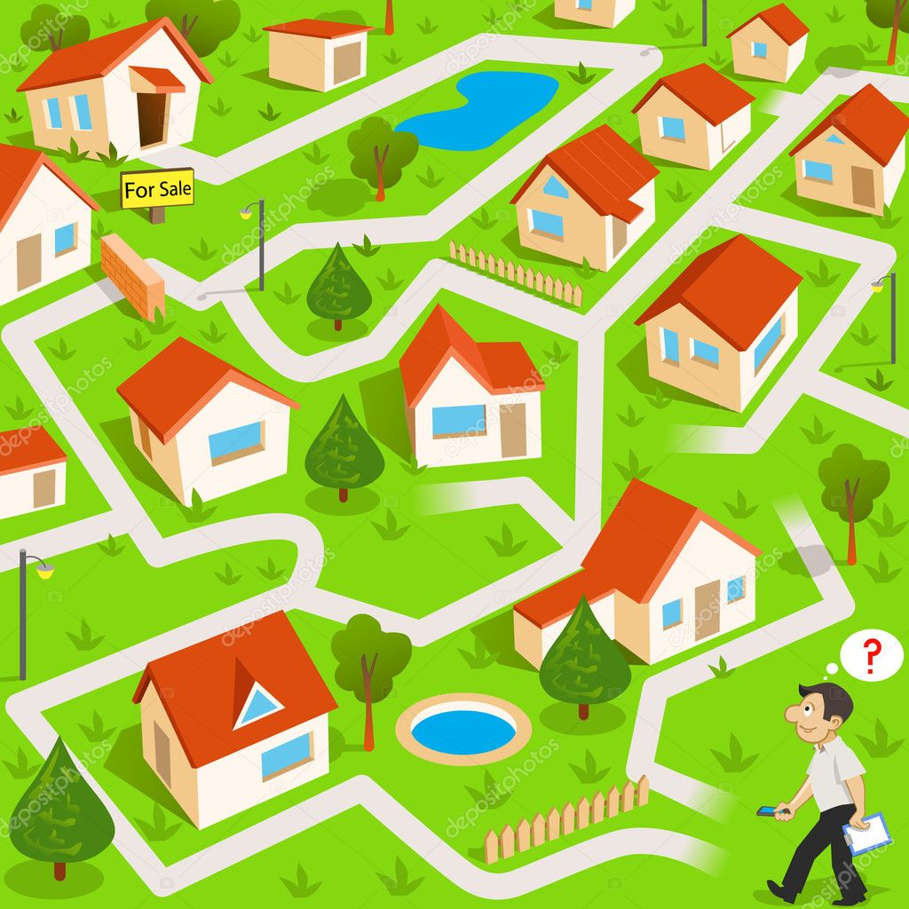 Funny maze game: the funny real estate agent find the way to