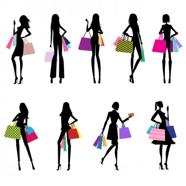 Silhouettes of women shopping - fashion illustration stock vector