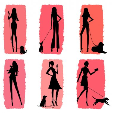Silhouettes of women walking their dogs - fashion illustration stock vector