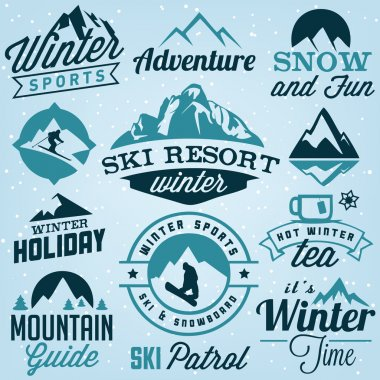 Collection of Winter Sports Badges and Labels. Vector Design Elements in Vintage Style