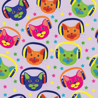Seamless pattern of colored cats