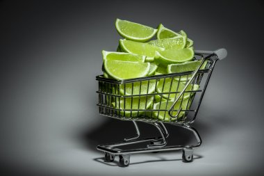 Supermarket Trolley With Slices Of Lime