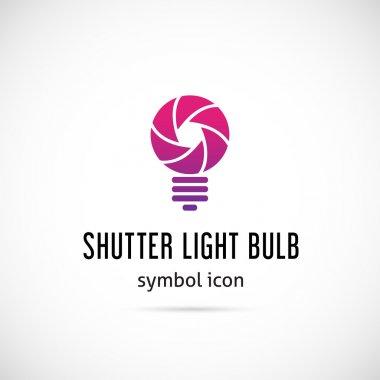 Shutter light bulb abstract symbol icon