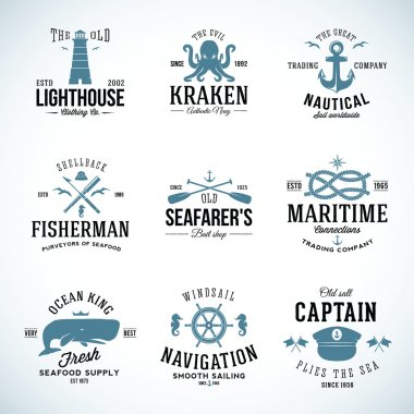 Set of Vintage Nautical Labels and Signs With Retro Typography Anchors Steering Wheel Knots Seagulls Wale