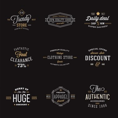 Retro Typography Abstract Vector Discount and Sale Label Set