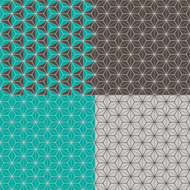 Set of four geometric seamless patterns
