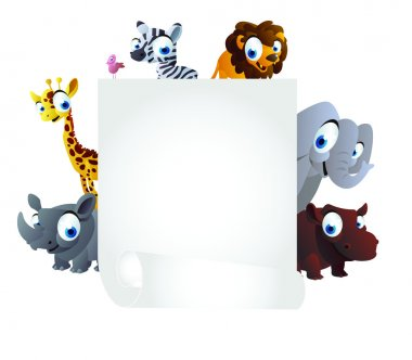 Animals cartoon with white board
