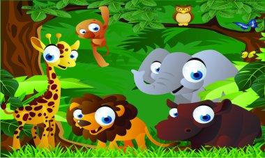 Animals cartoon in the zoo