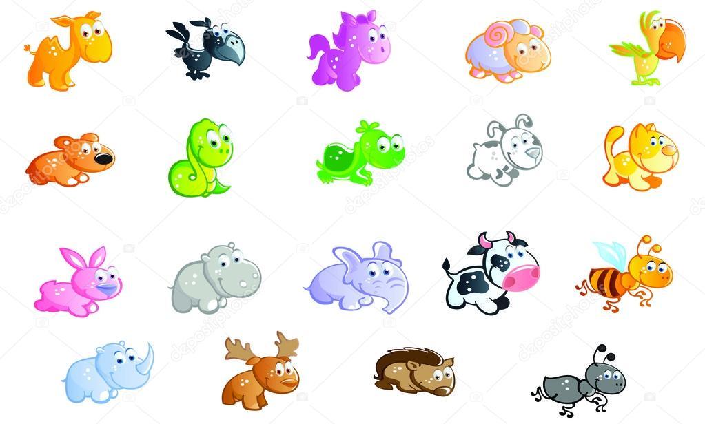 Zoológico De Animais Bebê Dos Desenhos Animados Vetor: Um Grande Conjunto De Desenhos Animados De Animais Bebê