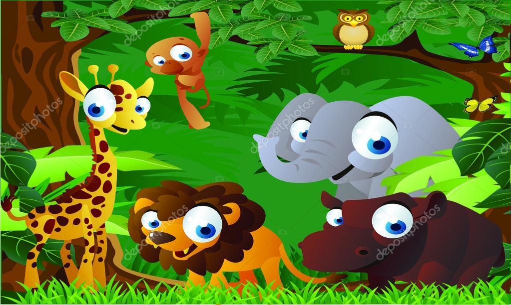 Cartone animato di animali dello zoo — vettoriali stock