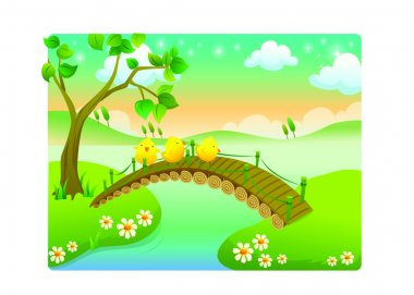 Chicks cartoon with beautiful landscape in the river