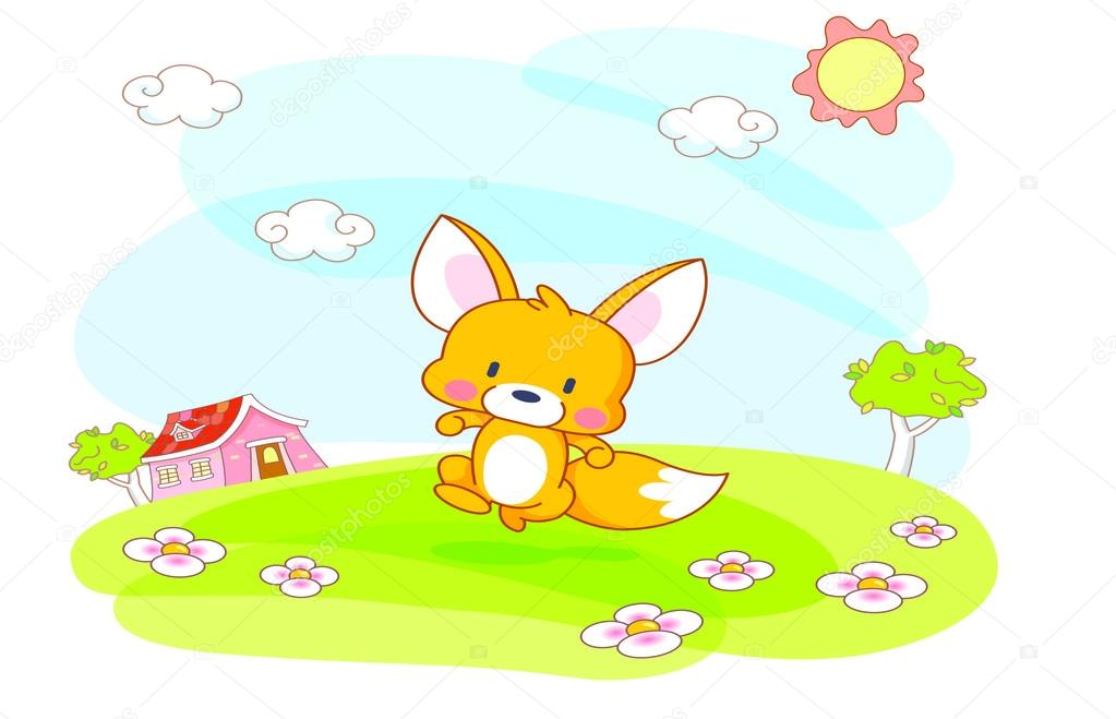 Cartone animato scoiattolo giocando in giardino