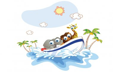 Cartoon animal was a boat ride on the beach