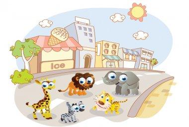 Cartoon animals on city streets