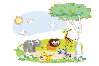 Cartoon animals playing in the garden
