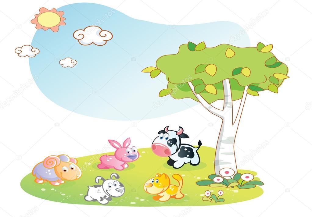 Animali da fattoria cartone animato con sfondo giardino