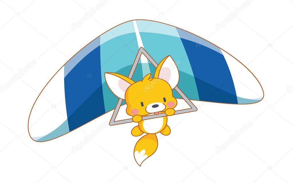 Scoiattolo simpatico cartone animato paracadutismo