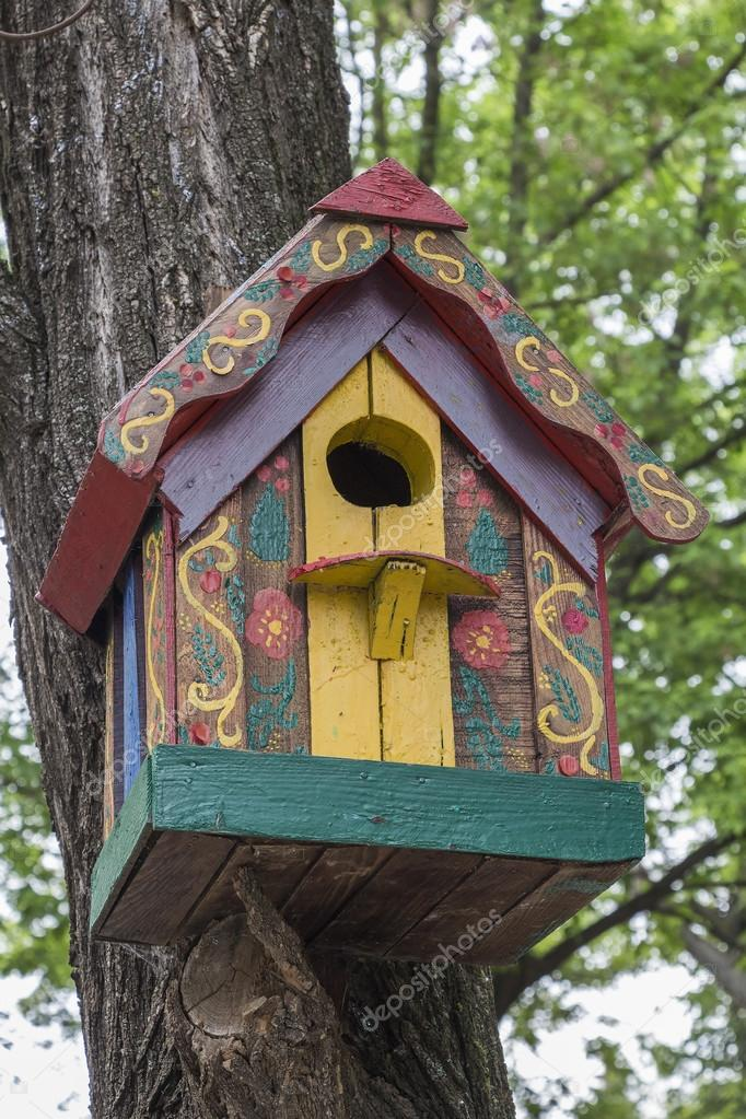 Painted wooden nesting box