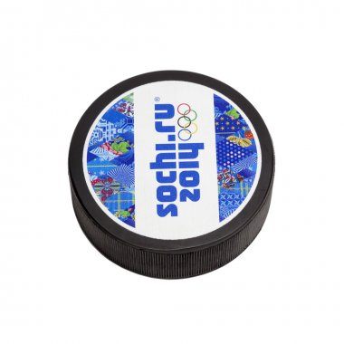 Hockey puck with the logo of the Olympic Games Sochi 2014