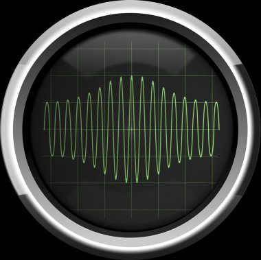 Signal with amplitude modulation on the oscilloscope screen in g