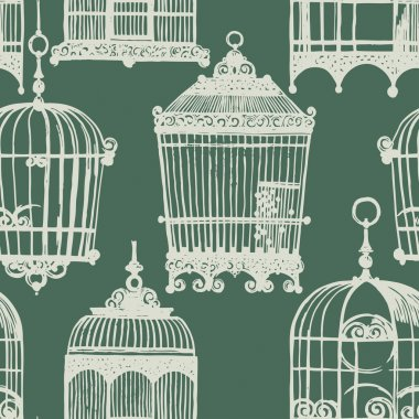 pattern with vintage birdcages