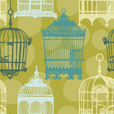 Seamless pattern with vintage birdcages