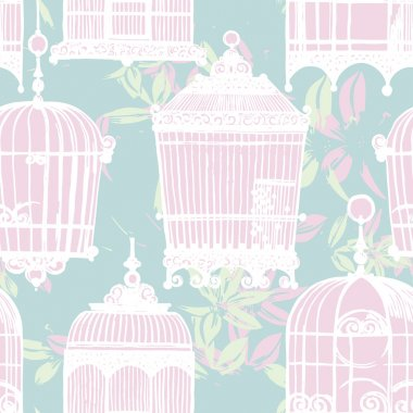 Pattern with vintage birdcages and flowers