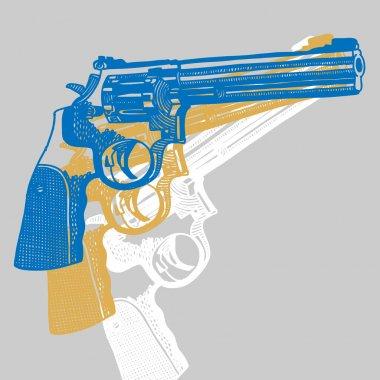 Vector illustration with handguns (pistol vector, pistol gun, old revolver) stock vector