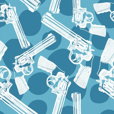 Vector seamless pattern with handguns (pistol vector, pistol gun, old revolver) stock vector