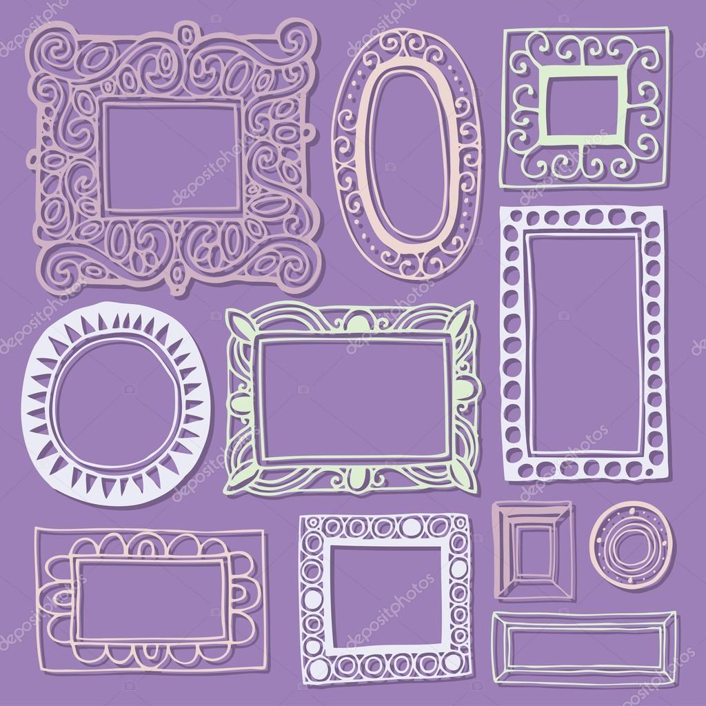 Antiguos marcos de cuadros y marcos — Vector de stock © TAkhmet ...