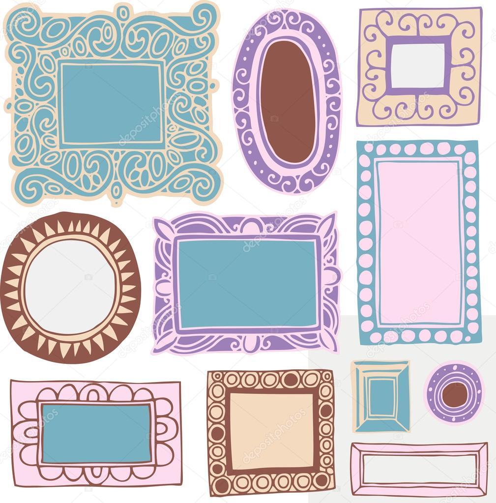 Antiguos marcos de cuadros y marcos — Archivo Imágenes Vectoriales ...
