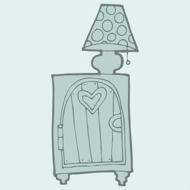 Hand drawn commode with lamp on it