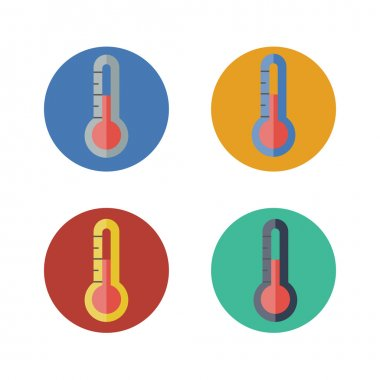Thermometer flat icon. Vector illustration. set