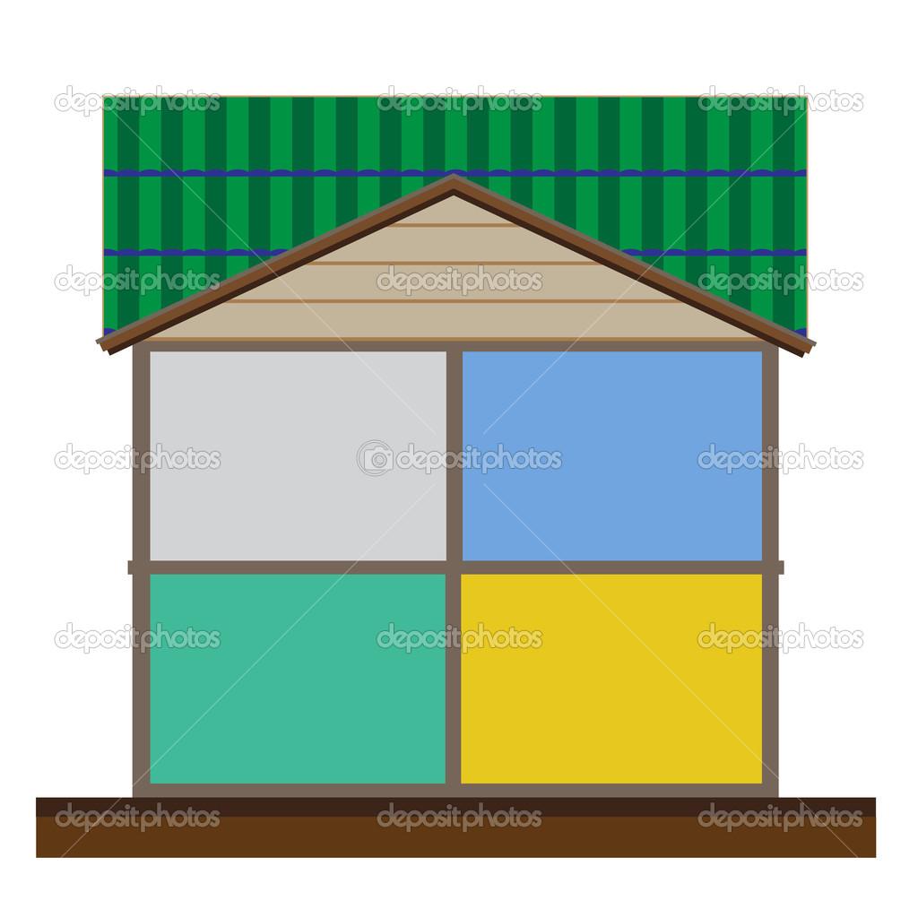Schneiden Sie im Haus Innenräume Vektor, leeren Raum zur ...