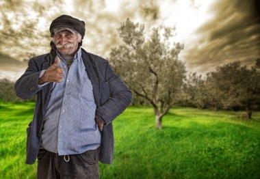 Arabian lebanese man , farmer with thumbs up, clipping path