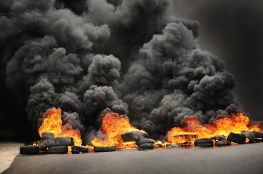 Burning tires