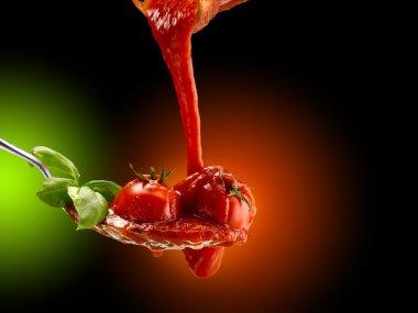 Basil pasta and tomato sauce