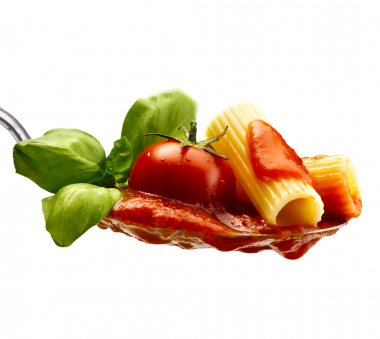 Basil pasta and tomato sauce on an isolated background