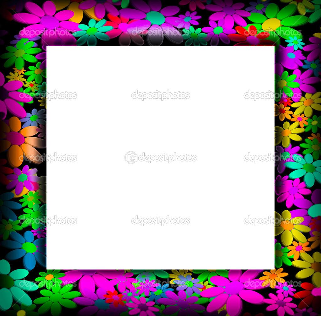 Marcos decorados con flores de colores foto de stock - Marcos decorados ...