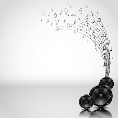 Music Background with Speakers - Vector
