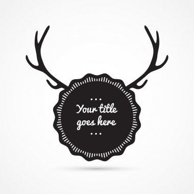 Label with antlers, vintage design, vector illustration