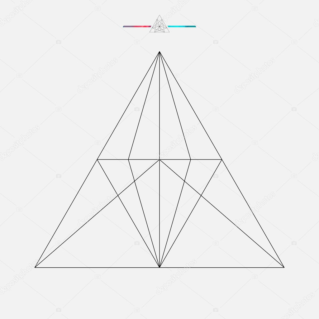 Geometric shape, vector triangle isolated, line element, vector illustration