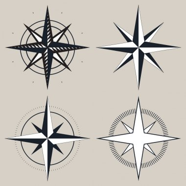 Vector black and white compass, icons set